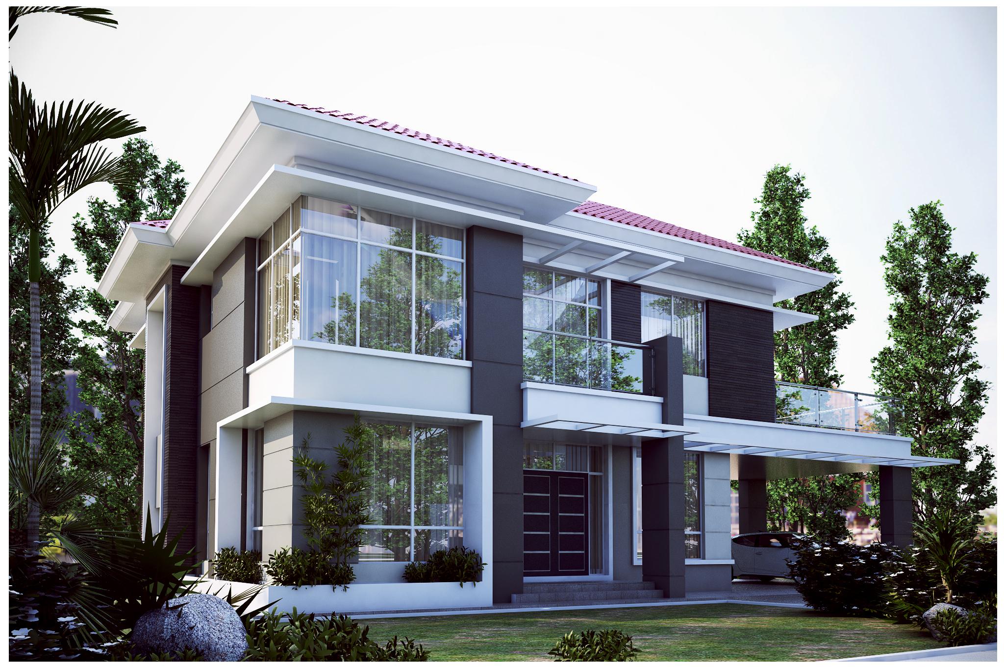 Double storey detached house design